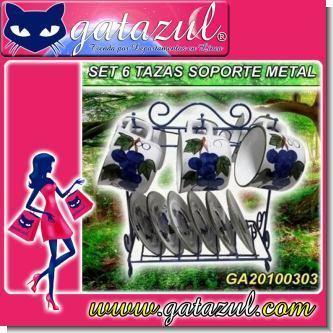 Lee el articulo completo SET DE TE DE CERAMICA CON 6 TAZITAS, 6 PLATITOS Y SOPORTE DE METAL